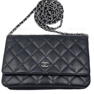 Authentic CHANEL Black WOC Flap Bag Crossbody